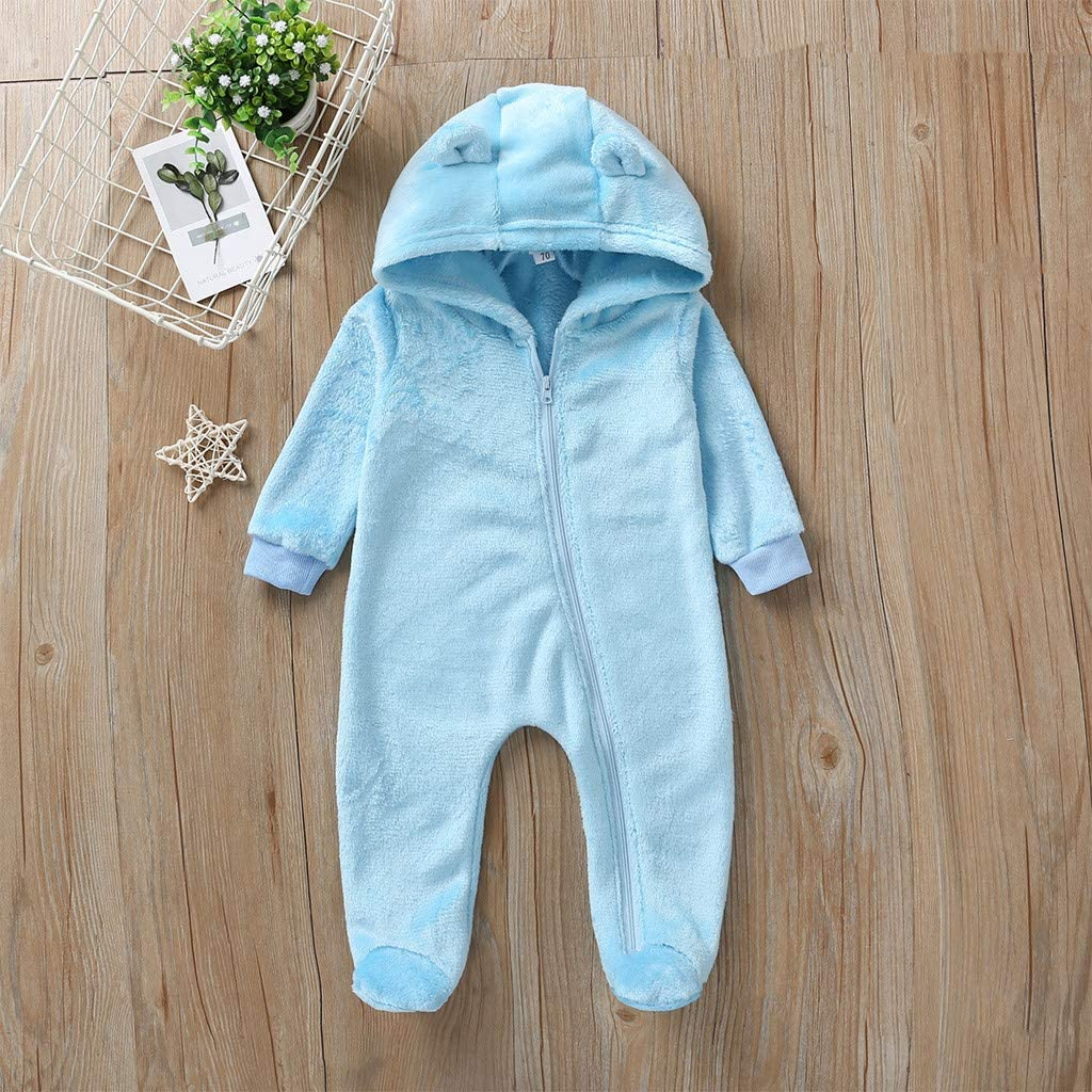 Voberry Toddler Newborn Baby Boy Girl Bear Ear Hoodie Romper Stripe Winter Fleece Warm Jumpsuit