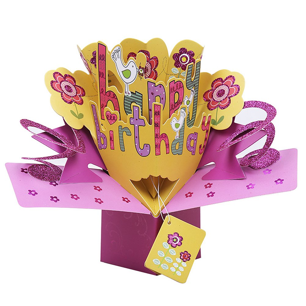 Happy Birthday 3d Greeting Card Merssyria Flower Super Big Size For