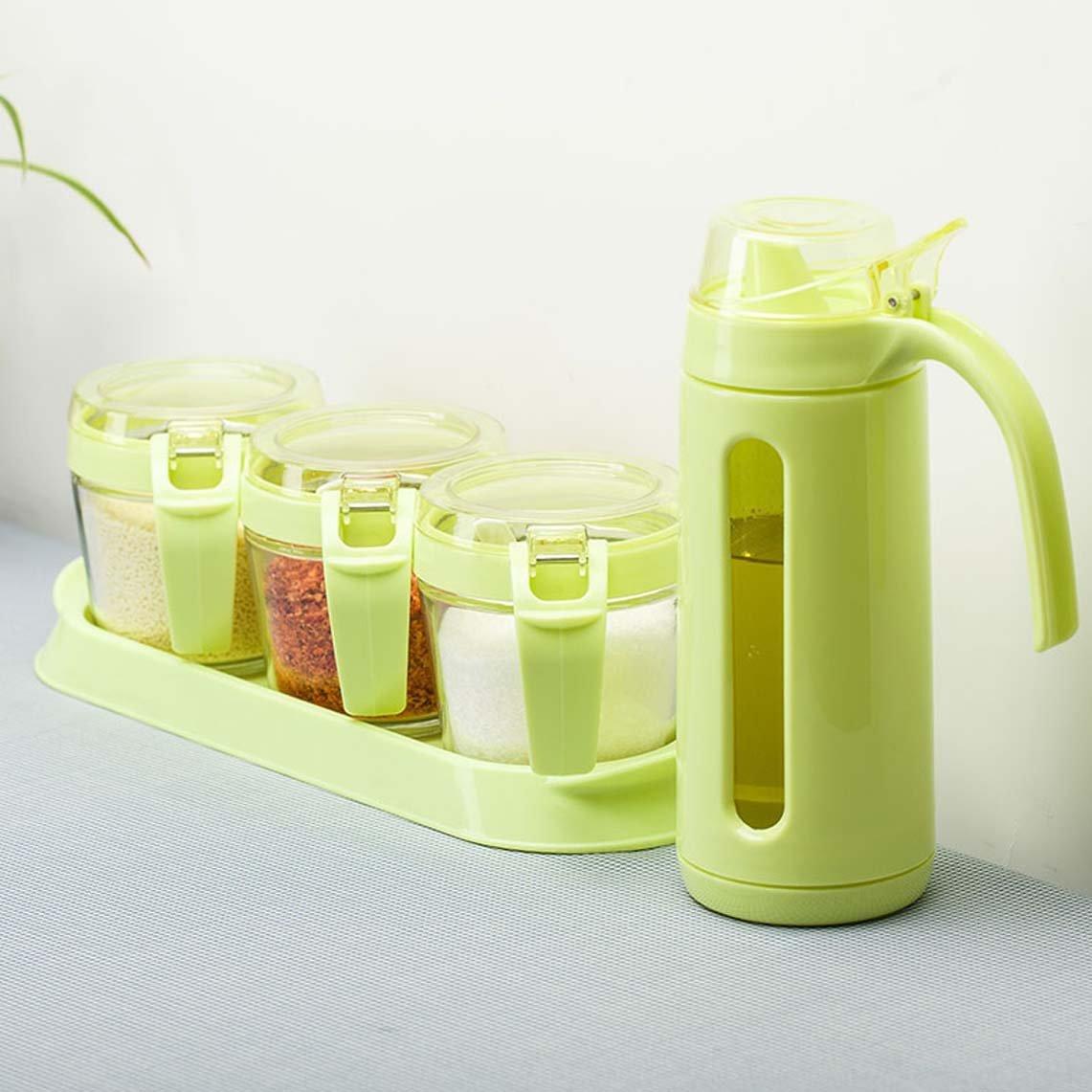 ZFDM Glass Seasoning Jar Set Kitchen Seasoning Box Seasoning Jar Set Oil Pot Salt Shaker With Spoon Set