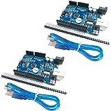 HiLetgo NEWバーション UNO R3 ATmega328P USB CH340G Arduinoと互換性 + USB ケーブル(2個セット) [並行輸入品]