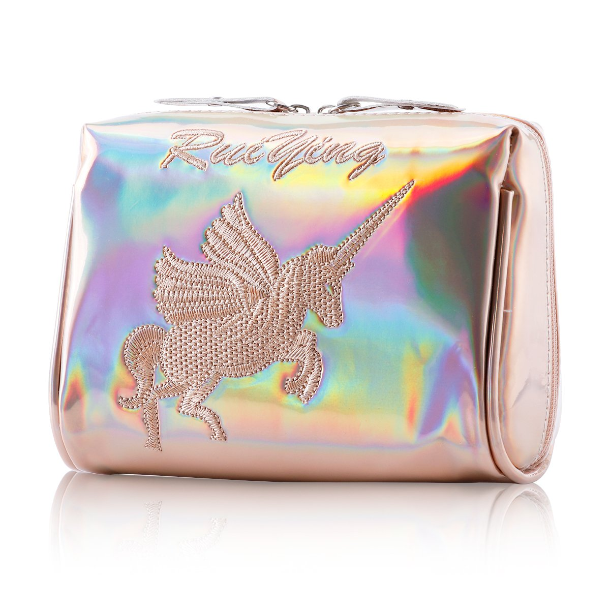 Makeup Bag Portable Zipper Handbag Embroidered Unicorn Travel Cosmetic Bag Wallet Cellphone Bag (Champagne)