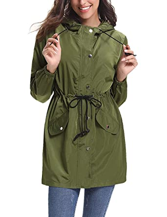 dab4e82e4 Abollria Rain Jacket Women Waterproof Hood Lightweight Active Outdoor  Raincoat Windbreaker