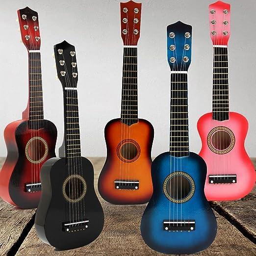 TOYMYTOY 21 pulgadas Guitarra acustica Pequeña guitarra de madera para niños infantil principiantes (Negro): Amazon.es: Bebé