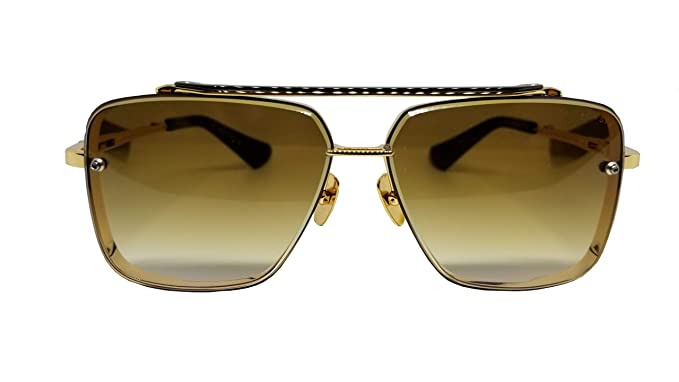 d9013859355c Dita MACH SIX Sunglasses DTS 121 Gold Brushed Frame with Brown Gradient  Lens  Amazon.co.uk  Clothing