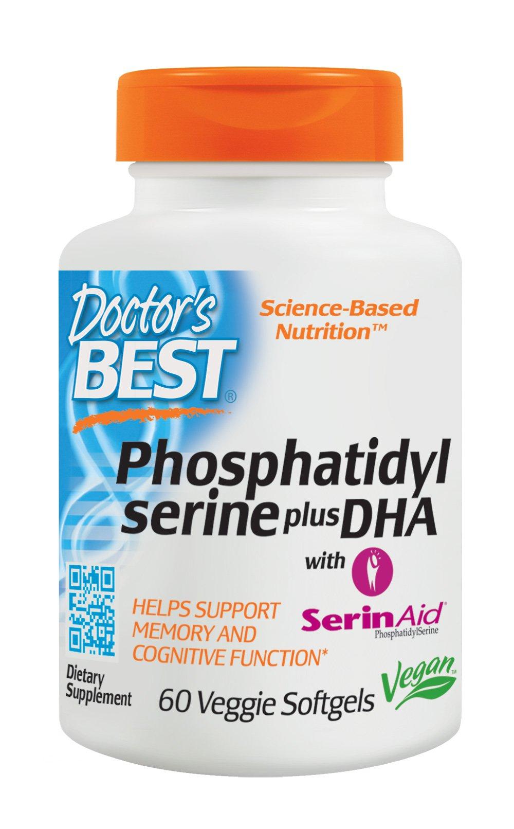 Doctor's Best Phosphatidyl Serine plus DHA with SerinAid, Vegan, Gluten Free, Memory Support, 60 Veggie Softgels