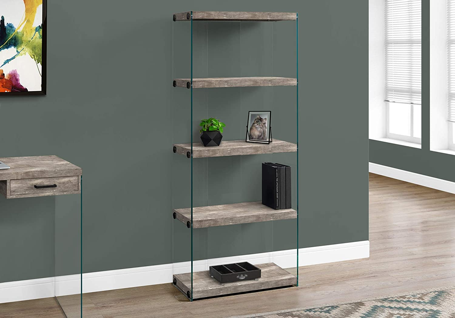 Monarch Specialties Bookcase – 5-Shelf Etagere Bookcase – Contemporary Look with Tempered Glass Frame Bookshelf – 60 H Taupe