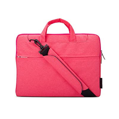 Jia Hu 1Pc Canvas Laptop Briefcase Portfolio Bag Tablet Organizer for College Office Red