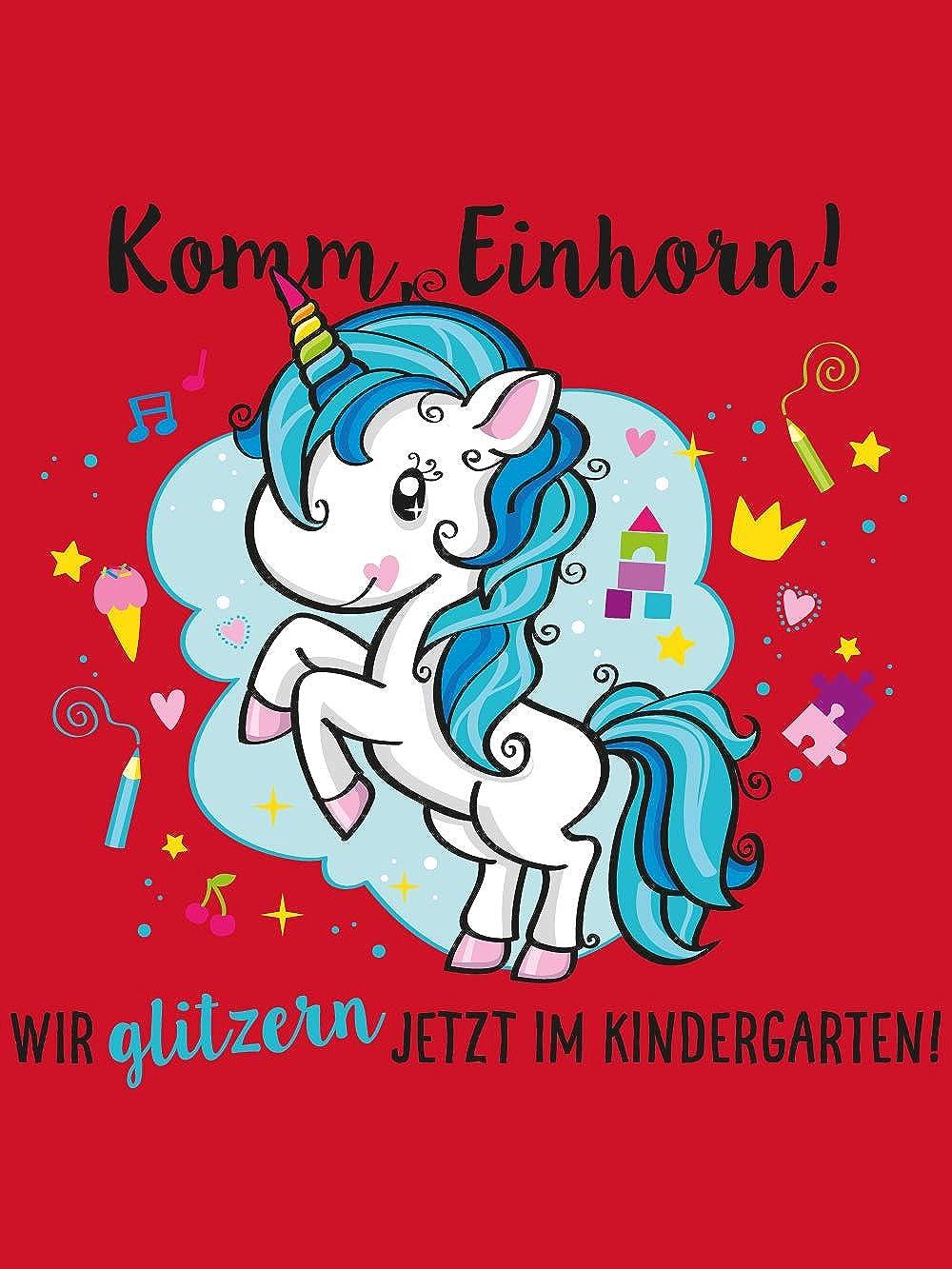 Einhorn Wir Glitzern jetzt im Kindergarten! clothinx Kinder T-Shirt Bio Kindergartenstart Komm
