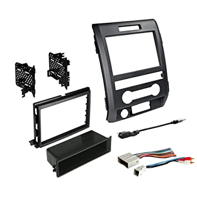 2009-2014 F-150 Single or Double DIN Radio Dash Kit with Antenna Adapter & Harness | Compatible with All Trim Levels: Car Electronics