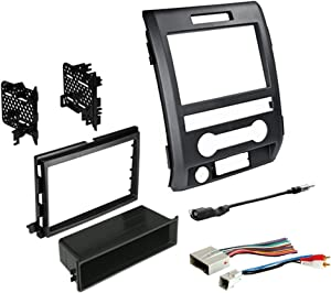 2009-2014 F-150 Single or Double DIN Radio Dash Kit with Antenna Adapter & Harness | Compatible with All Trim Levels