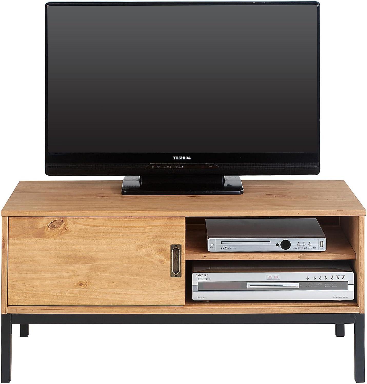 IDIMEX Mueble TV Selma Banco Televisión Estilo Industrial Design Vintage con 1 Puerta corrediza y 2 estantes con Estante, en Pino Macizo marrón Claro: Amazon.es: Hogar
