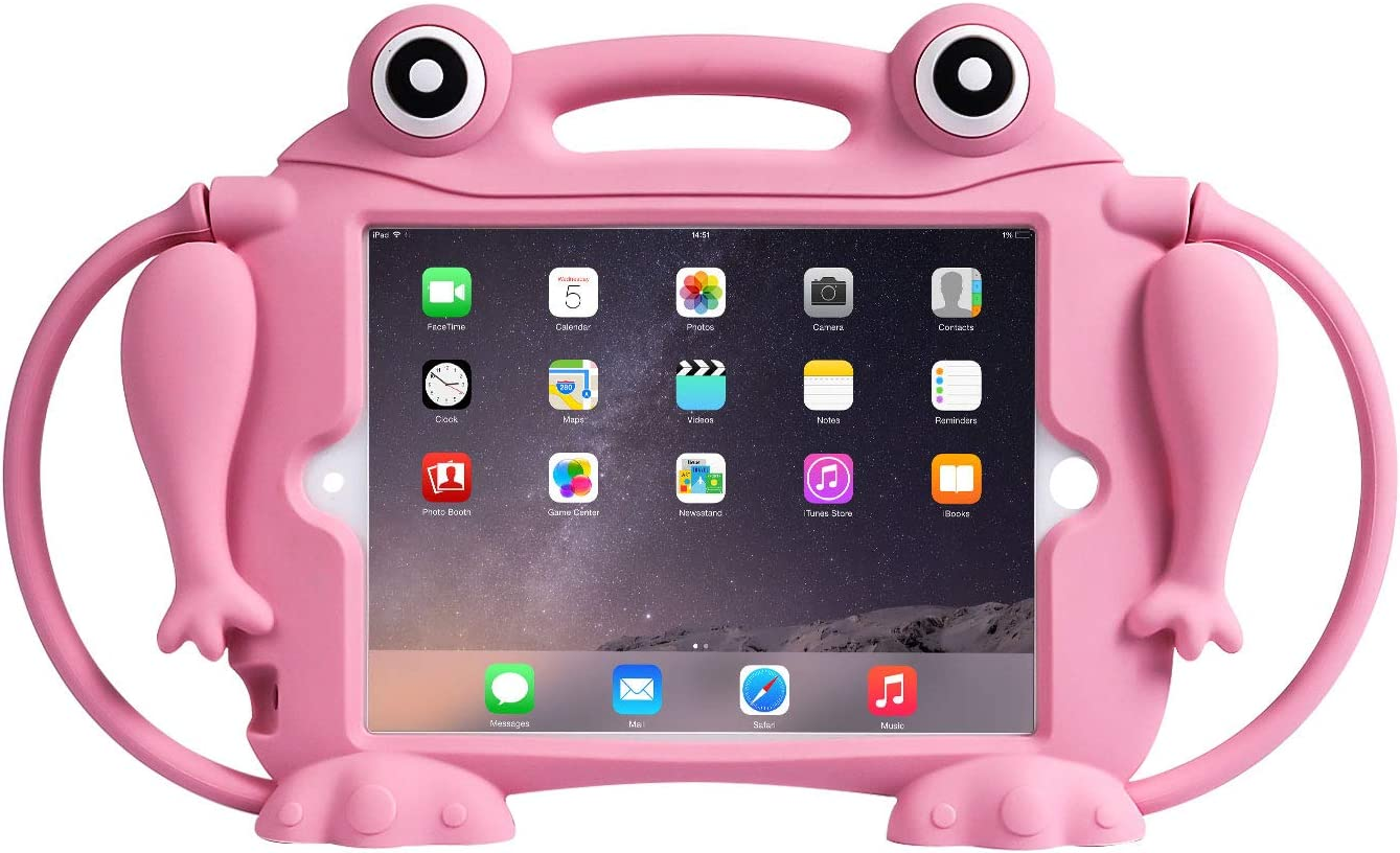 Kids Case for iPad Mini 1 2 3 4 5 - CHIN FAI [Eye Popping Frog] Shockproof Silicone Handle Stand Protective Cover for Apple 5th Generation iPad Mini 2019 and iPad Mini with Retina Display (Pink)