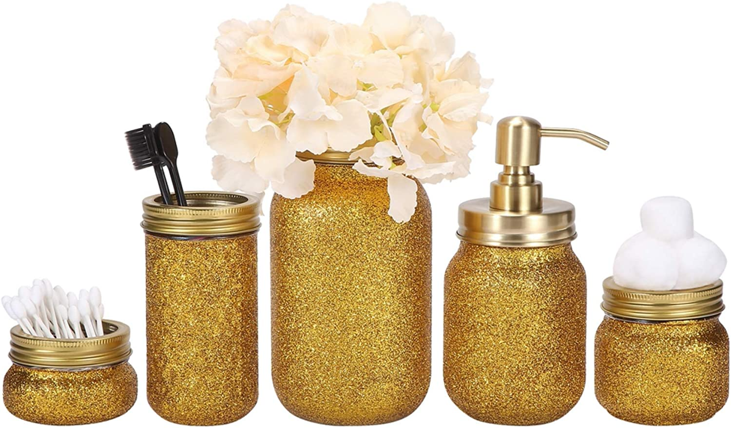 Quotidian Glitter Mason Jar Bathroom Set 5 Piece with Soap Dispenser,Flower Vase, Toothbrush Holder for Wedding House Decor Countertop and Vanity Organizer Bathroom Accessory Sets (Gold)