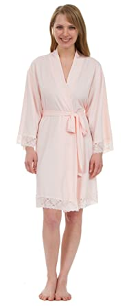 477dc629ef6 Leisureland Women s Stretch Jersey Lace Robes (Women S M