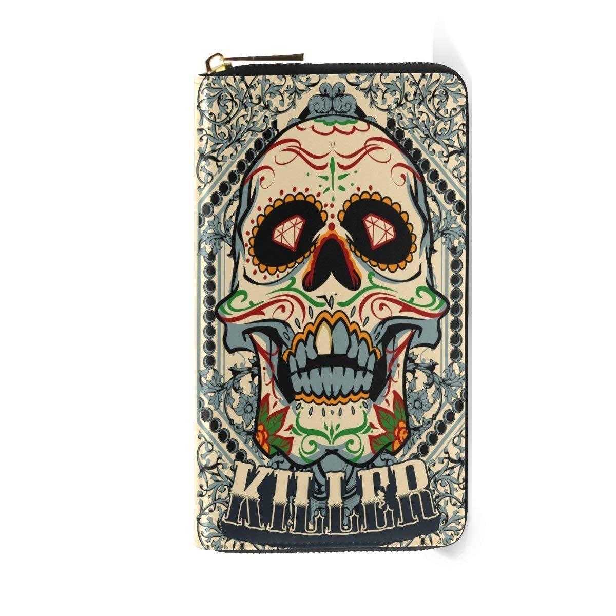 Womens Wallets Sugar Skull Zipper Passports Handbag Vintage Halloween Killer Clutch Purses
