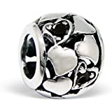Silvadore - Silver Bead - Hearts Mini Jet Black Crystal Clear Cz Design Ring Style - 925 Sterling Charm 3D Slide On 227 - Fits Pandora European Bracelet - Free Gift Boxed