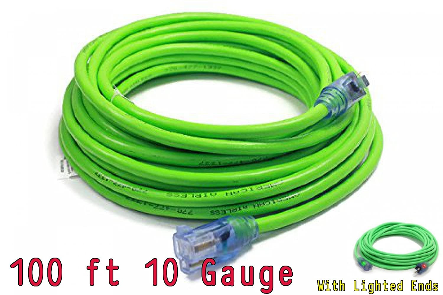 100 ft 10 Gauge, green 100 ft 10 Gauge Extension Cords 10 3 Contractor Grade 100 10 Gauge Power Extension Cord 10//3 Plug,extension cord With Lighted Ends