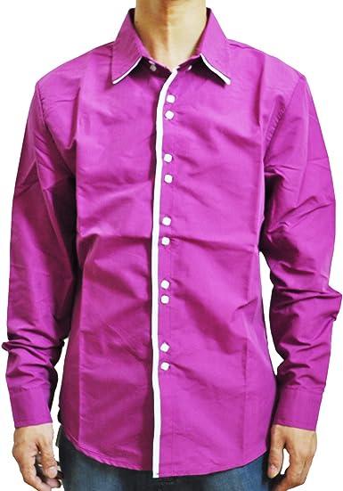 TOOGOO (R) Nueva moda Casual con doble cuello tapeta contraste del color de la manga larga de la camisa de los hombres Fucsia - L: Amazon.es: Ropa y accesorios