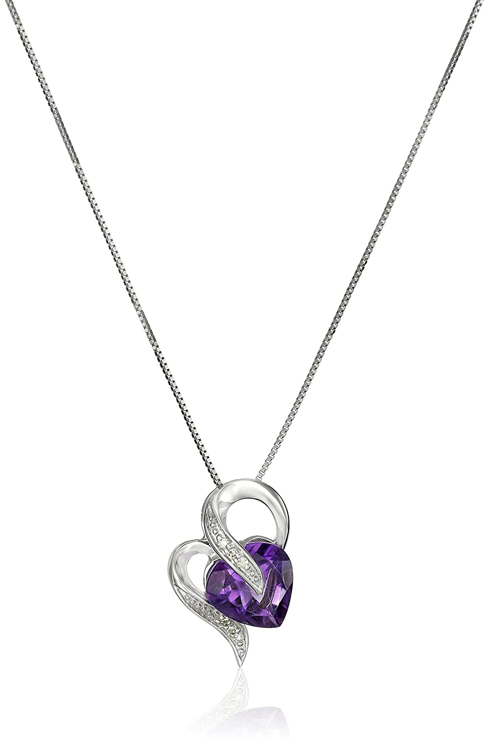 Amazon 10k white gold amethyst and diamond accent heart shape amazon 10k white gold amethyst and diamond accent heart shape pendant necklace 18 jewelry mozeypictures Image collections