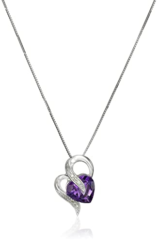 """10k Gold Gemstone and Diamond Accent Heart-Shape Pendant Necklace, 18"""""""