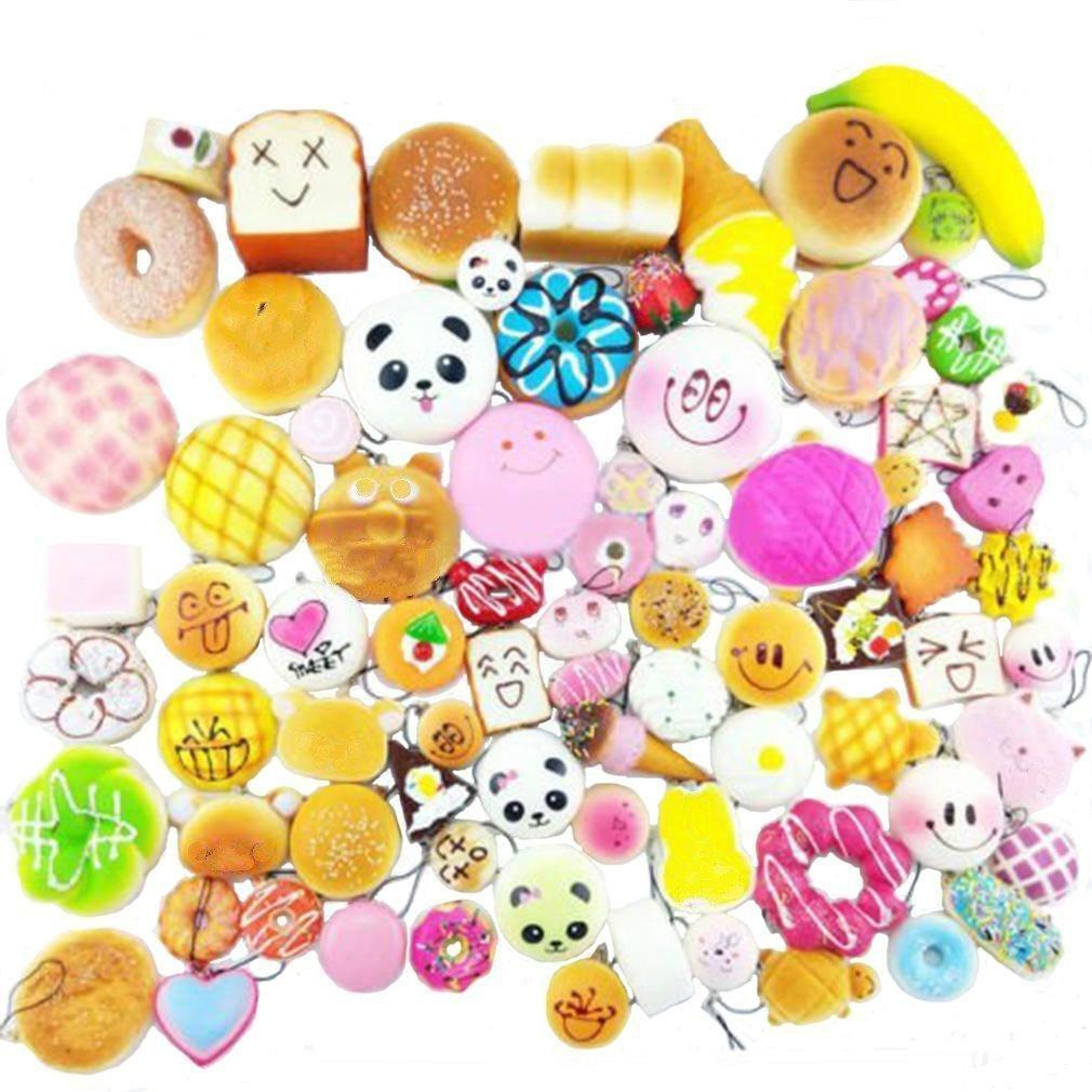 Huastyle Random 20pcs Jumbo Medium Mini Slow Rising Kawaii Squishy Cake/Panda/Bread/Buns Phone Straps