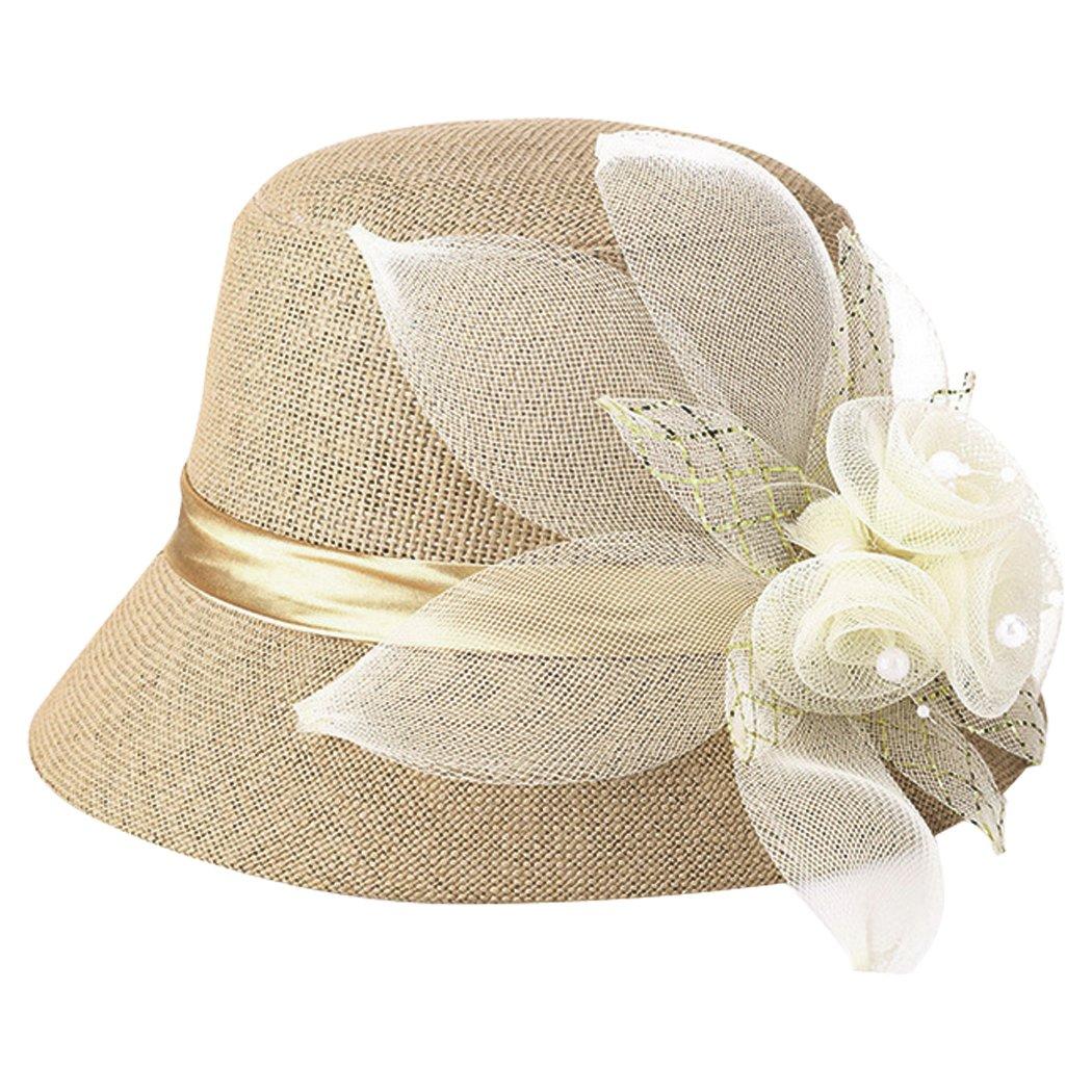 Fascigirl Damen Eimer Hut Glocke Hut Eleganter Retro Sonnenschutz Blumen Hut