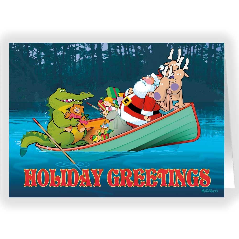 Amazon.com: Funny Gator Holiday Card - 18 Christmas Cards and ...