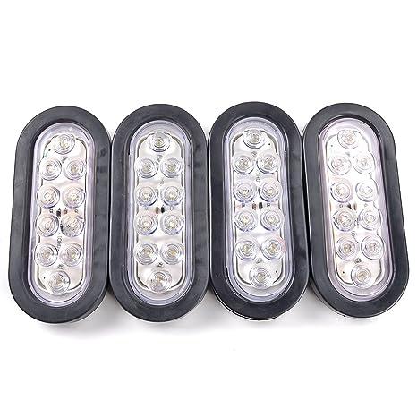 56a013f79c 4pcs Bright White 6000K Oval 10 LED Clear Lens Backup Reverse Light Grommet  Plug Car Truck