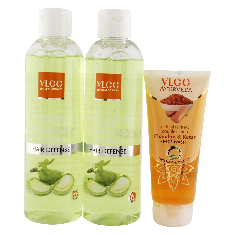 VLCC Silky Shine Shampoo,700ml (Buy 1 Get 1) and Kesar Chandan Face Wash Combo,100ml