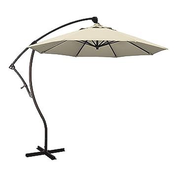 California Umbrella 9u0027 Round Aluminum Cantilever Umbrella, Crank Lift, 360  Rotation, Bronze