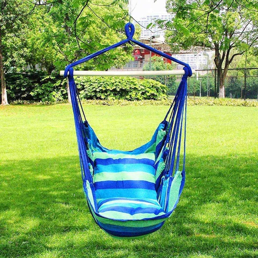 Garden Hanging Rope Hammock Chair Porch Swing Seat with Two Cushions for Yard Porch Patio Soft Cushioned Rope Hanging Swing Set Hammock Swing Chair