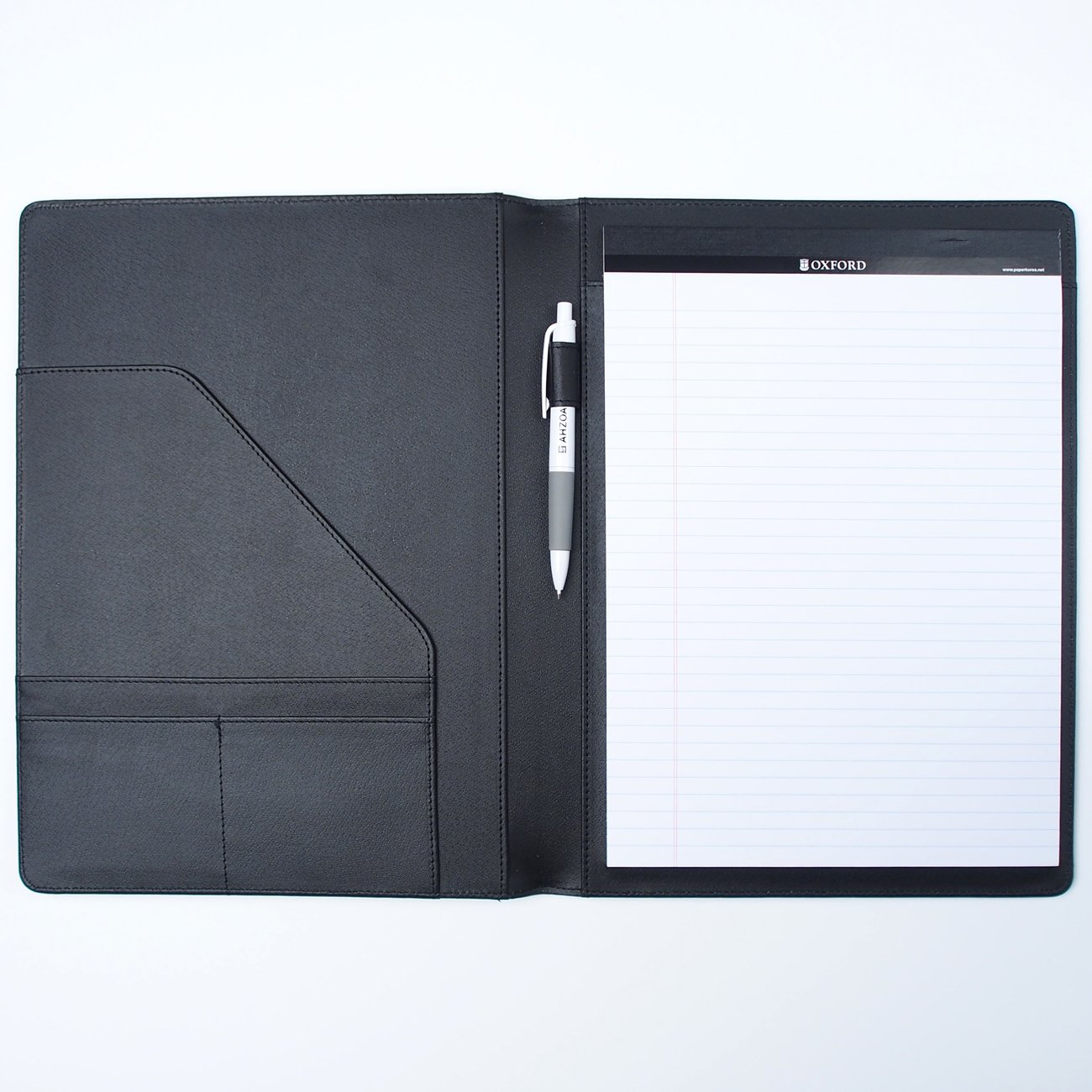AHZOA 4 Pockets A4 Size Memo Padfolio S3 with Mechanical Pencil, Including 8.27 X 11.7 inch Legal Writing Pad, Synthetic Leather Handmade 9.84 X 12.99 inch Notepad Clipboard (Black)