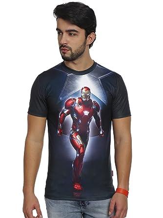 b0bad1fd Marvel Men's Polyester Iron Man T-Shirt (Black, XXL): Amazon.in ...
