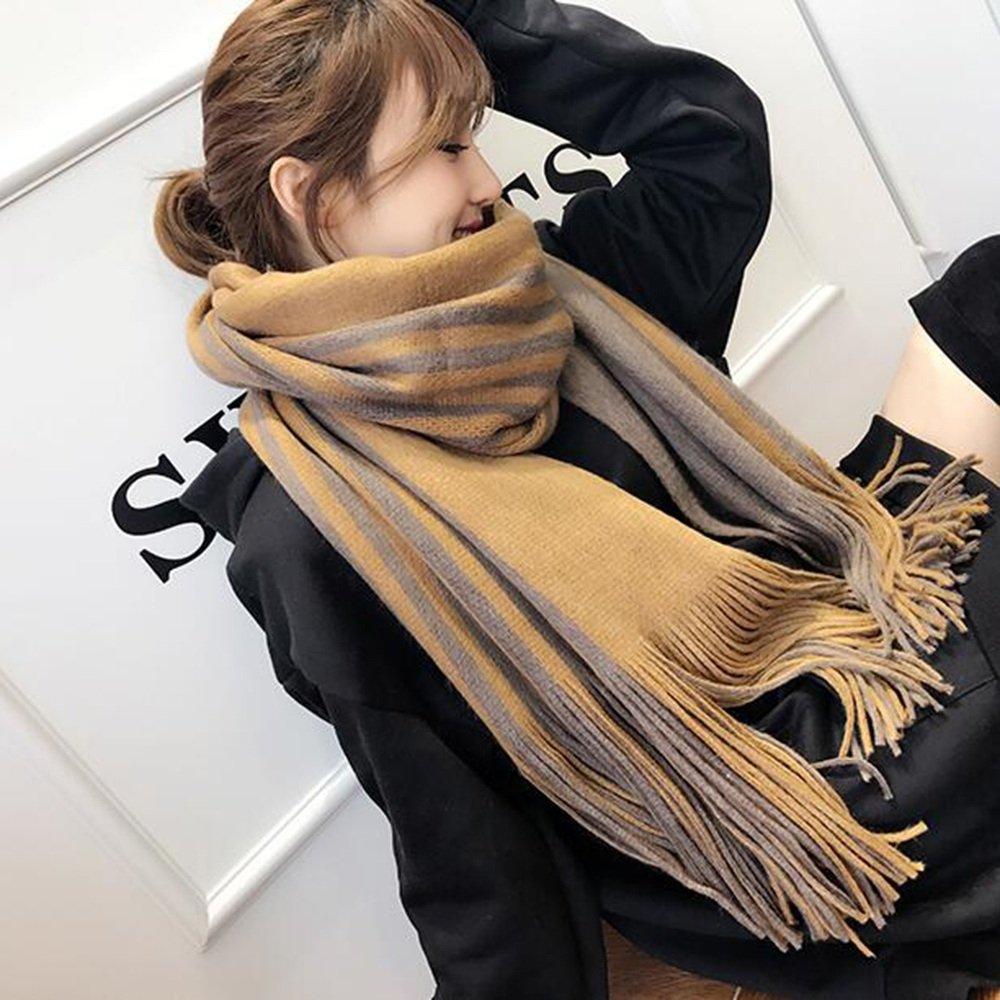 MEIDUO Bufandas y Chales Bufanda de invierno del chal bufanda borlas a rayas engrosada cuello de doble cara de doble uso Material cómodo ( Color : Khaki )