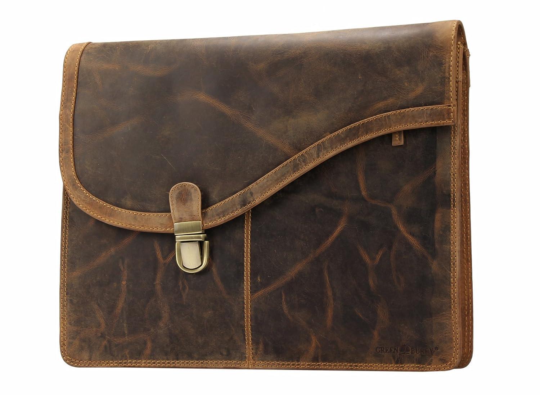 Greenburry Vintage Business Bag Leder Aktenmappe A4 - Leder-Aktentasche braun - 37x6x29 cm
