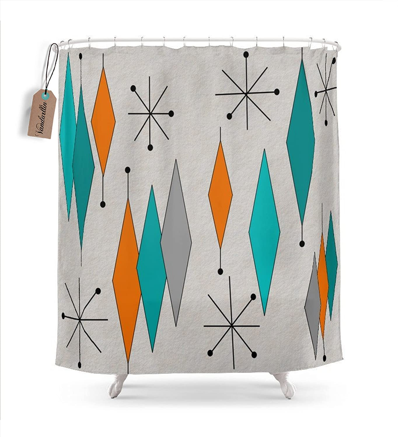 "Vandarllin Mid-Century Modern Diamond Pattern Shower Curtain, 72"" x 78"" Extra Long, Mildew Resistant Waterproof Decorations Bath Curtains,Multicolor"