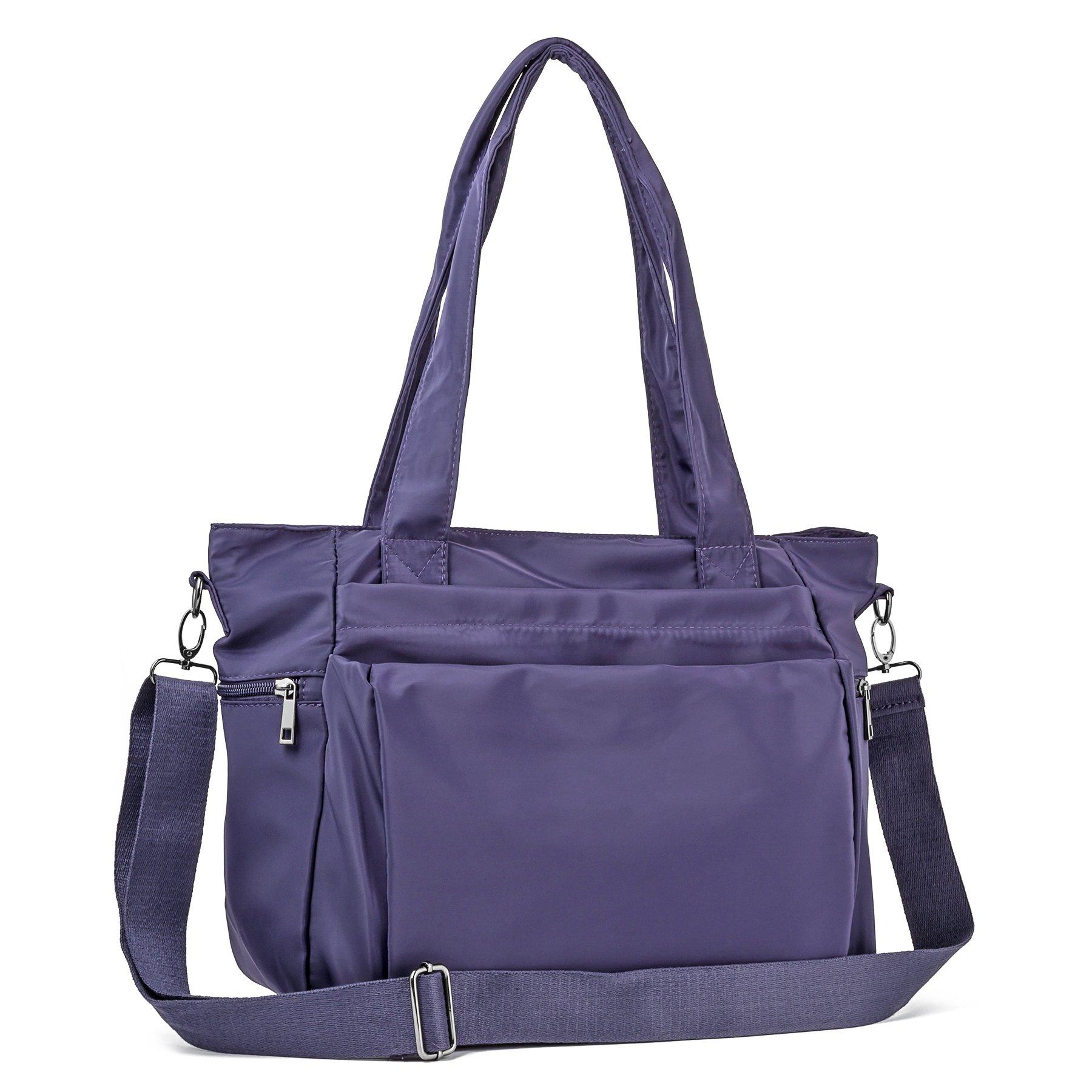 ZORESS Women Fashion Large Tote Shoulder Handbag Waterproof Multi-function Nylon Travel Messenger Bags (Purple)
