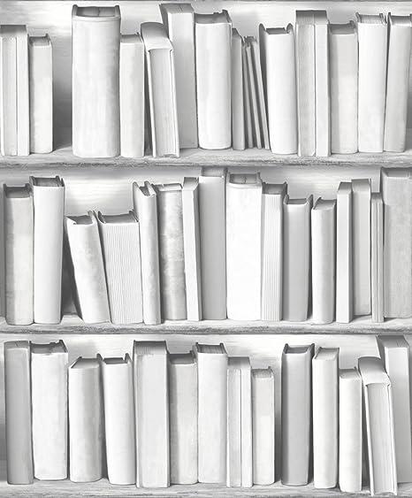 UGEPa Bookcase Wallpaper Grey 578429