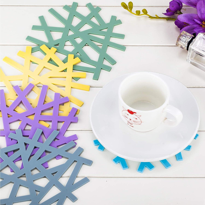 6 Inch Diameter 8 Pieces Rubber Jar Gripper Pads Round Kitchen Coasters Multi-Purpose Bottle Lid Openers