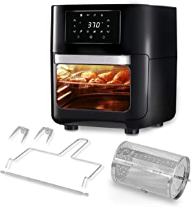 CateVoice 10.5 QT Air Fryer Oven, 8-in-1 Oilless Cooker, LED Digital Touchscreen | Rotisserie Dehydrator | Auto Shutoff | 5 Accessories and Recipe Includes | XL Family Size