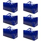 VENO Thick Over-Sized Organizer Storage Bag with Strong Handles and Zippers for Travelling, College Carrying, Moving, Camping, Christmas Decorations Storage, Made of Recycled Material Blue - Set of 6