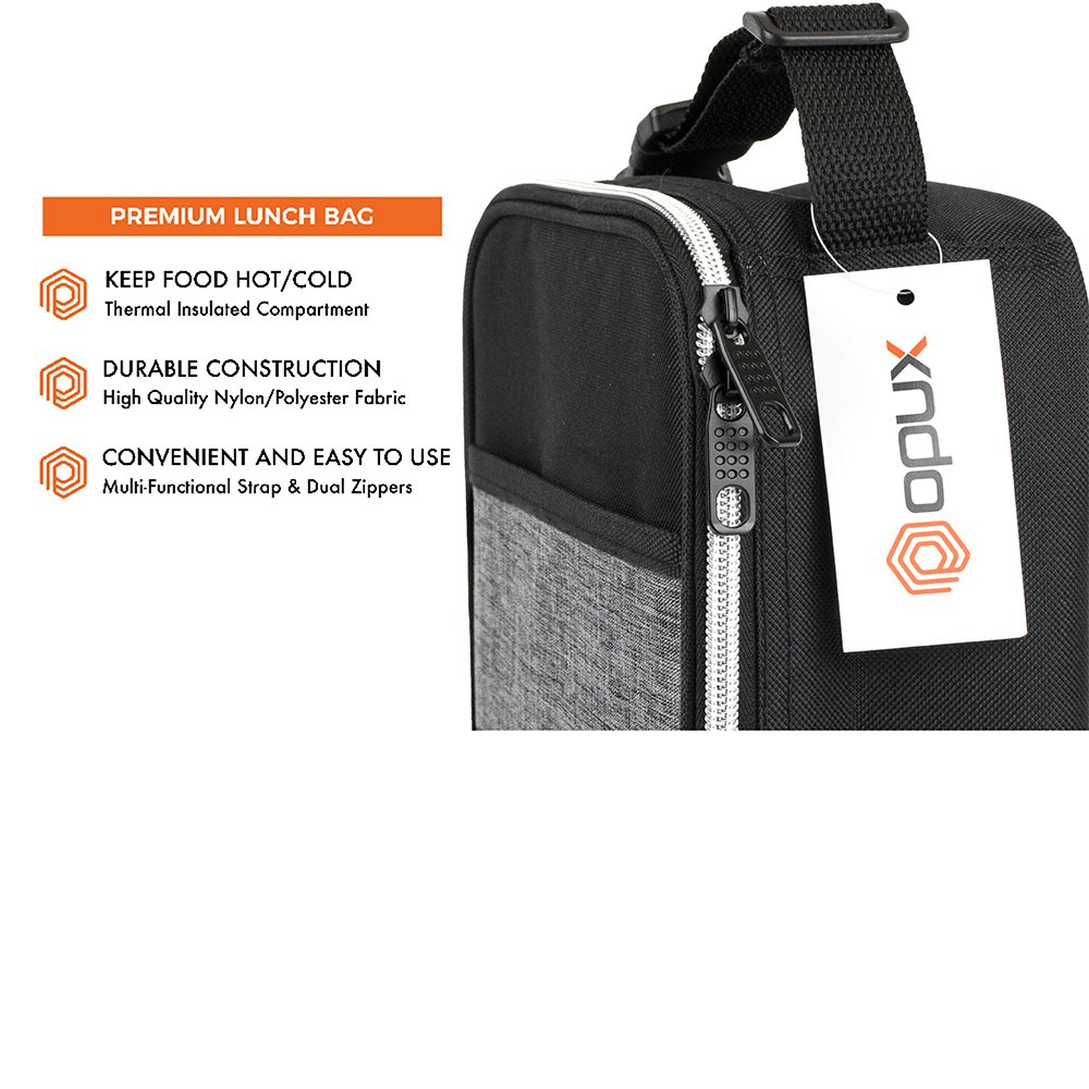 OPUX Premium Thermal Insulated Mini Lunch Bag | School Lunch Box For Boys, Girls, Kids, Adults | Soft Leakproof Liner | Compact Lunch Pail for Office (Heather Gray) by OPUX (Image #3)