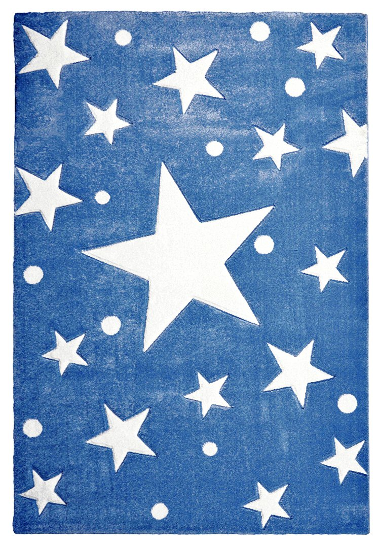 Livone Kinderteppich Happy Rugs Stars Navy blau Weiss 120x180 cm