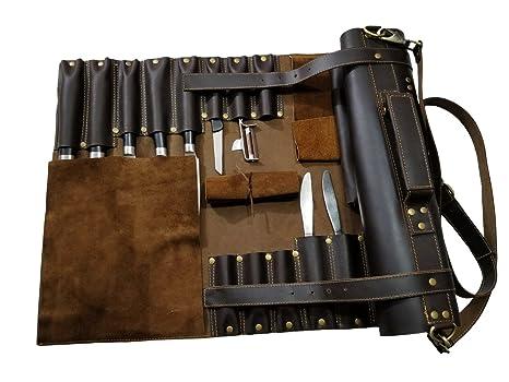 Amazon.com: Bolsa Piel Genuina Professional 16 bolsillos ...
