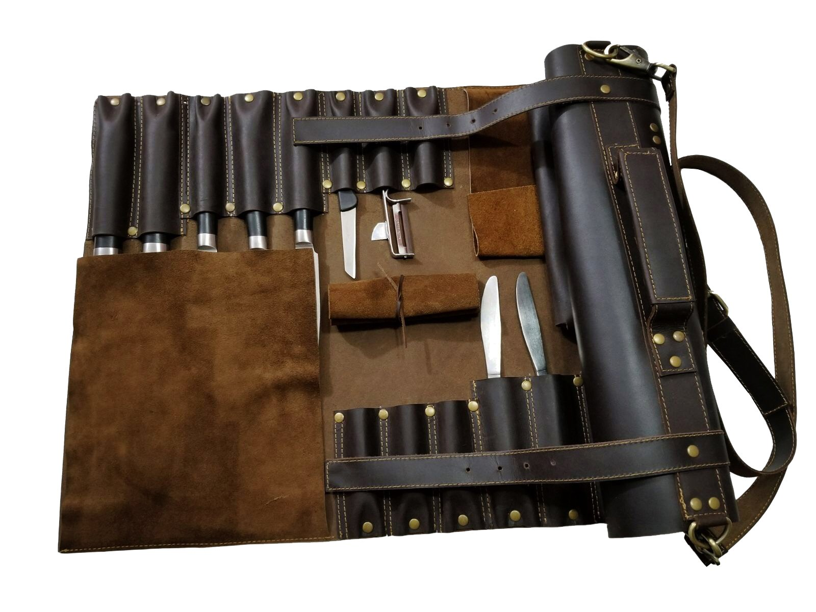 Lightweight Genuine Dark Brown Leather 16 Pockets Chef Knife Bag/Chef Knife Roll by luvsecretlingerie