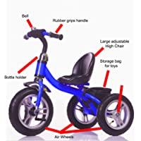 Little Bambino RideOn Pedal Tricycle Children Kids Smart Design 3 Wheeler   Blue   CE Approved Air Wheels Adjustable Seat Metal Frame Bell