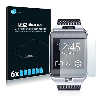 savvies Protector Pantalla Compatible con Samsung Galaxy Gear 2 Neo SM-R381 (6 Unidades) Pelicula Ultra Transparente