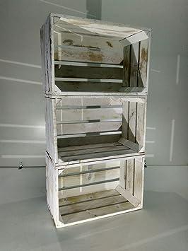 lote 3 cajas de fruta madera pino blanco vintage - Cajas Fruta