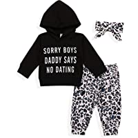 Baby Girls Clothes Infant Long Sleeve Hoodie Sweatshirt Cute Leopard Pants with Headband Outfit Sets