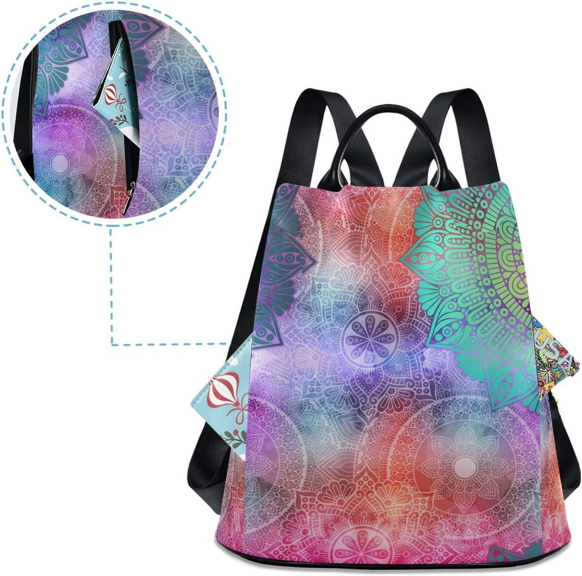 ALAZA Boho Mandalas Indian Print Decorative Backpack Purse for Women Anti Theft Fashion Back Pack Shoulder Bag